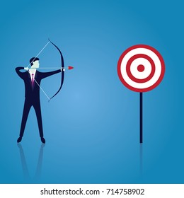 Vector illustration. Business target goals concept. Businessman focus aiming to hit target with bow and arrow