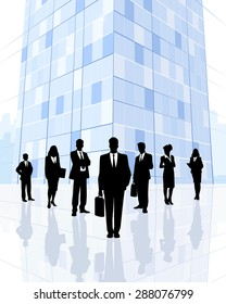 Vector illustration of a business team in city