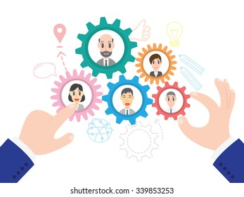 Vector illustration of business team management in flat style, Team Building concept, Vector human resource management concept