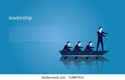 Vector illustration. Business teamwork leadership concept. Businessmen working in team, Group of people rowing boat together. Leader work with and motivating his team to move forward for success