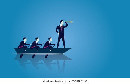 Vector illustration. Business teamwork leadership concept. Businessmen working in team, Group of people rowing boat together moving forward. Leader looking for success with telescope, visionary