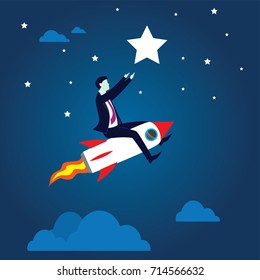 Vector illustration. Business vision concept. Businessman flying high riding a rocket to pick star in the sky