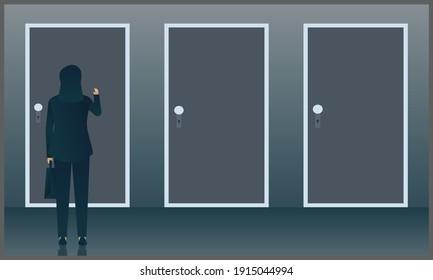 vector illustration of business woman knocks the door