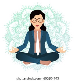 Vector illustration of business woman sitting in lotus pose. Meditating office worker on dreamy mandala background. Corporate yoga illustration.