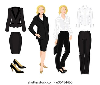 Vector illustration of business woman, teacher or secretary. Black formal suit, white blouse and classic shoes