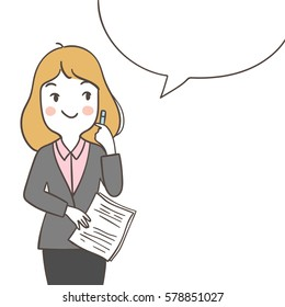 Vector illustration business woman thinking good idea with speech bubble.Draw doodle cartoon style.