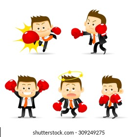 Vector illustration of businessman with boxing gloves.
