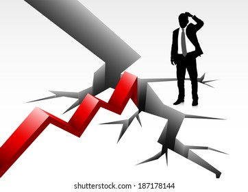 Vector illustration of businessman in business trouble.