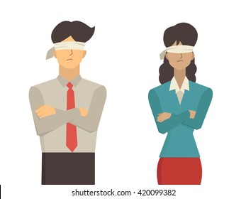 Vector illustration of businessman and businesswoman blindfolded, flat character design isolated on white background.