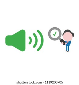 Vector illustration businessman character holding magnifying glass with check mark to sound on icon.