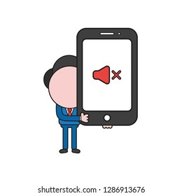 Vector illustration businessman character holding smartphone with sound off icon. Color and black outlines.