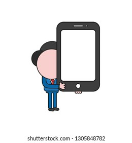 Vector illustration businessman character holding smartphone. Color and black outlines.