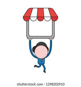 Vector illustration businessman character running and carrying shop store. Color and black outlines.
