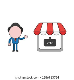 Vector illustration businessman character showing shop store with written open on hanging sign. Color and black outlines.