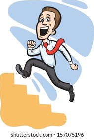 Vector illustration of Businessman climbing stairs. Easy-edit layered vector EPS10 file scalable to any size without quality loss. High resolution raster JPG file is included.