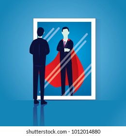 Vector illustration of businessman facing his inner super strength in the mirror. Self confidence
