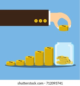 Vector illustration, Businessman hand putting coin in jar with coins stack growth financial, save money and investment concept