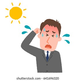 vector illustration of a businessman with heatstroke