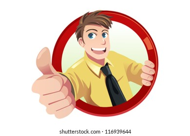 A vector illustration of a businessman with his thumbs up