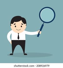 Vector illustration of businessman holding a magnifying glass. Flat design