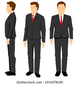 Vector illustration of a businessman icon with various views, front, side, and perspective