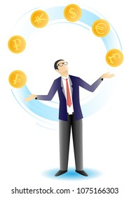 Vector illustration of businessman juggling gold coins with reserve currency symbols dollar euro pound etc. Business and finance concept design element.