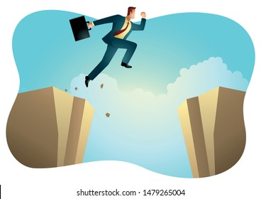 Vector illustration of a businessman jumps over the ravine. Challenge and obstacle optimism, determination in business concept.