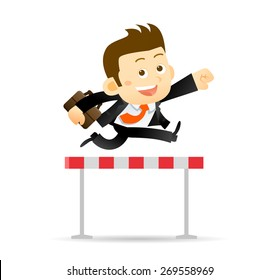 Vector illustration of Businessman jumps over the hurdle