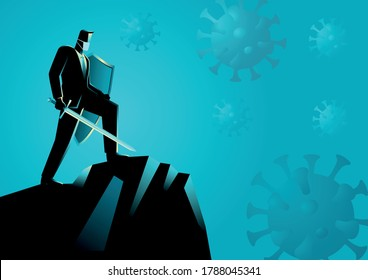 Vector illustration of a businessman as a knight ready to fight viruses, conceptual illustration for confidence in business during pandemic