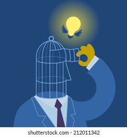 Vector illustration the businessman letting out idea from the head