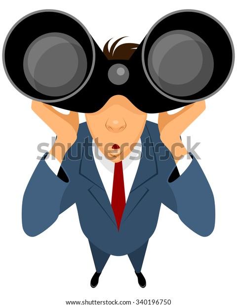 Vector Illustration Businessman Looking Through Binoculars Stock Vector Royalty Free 340196750