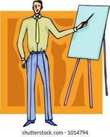 A vector illustration of a businessman, making a presentation.