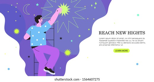 Vector illustration of businessman or man getting or reaching star from the night sky in a flat geometric and outline style. The concept of business growth, success, dream, new hights, achieving goal.