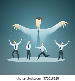 Vector illustration of Businessman master of puppets - stock vector