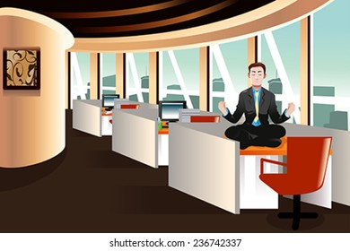 A vector illustration of businessman meditating in the office