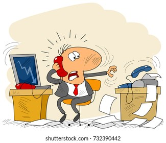 Vector illustration of a businessman in office