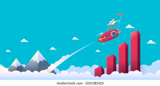 Vector Illustration of a Businessman on Rocket Soaring from a Clouds to Graph of Success with Paper Style.