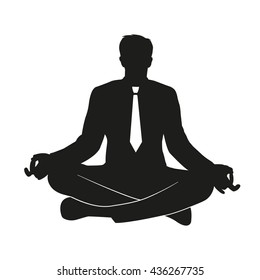 Vector illustration of businessman practicing yoga at office Flat vector icon of the meditating office worker symbolizes tranquility, balance, relaxation, reflection, harmony
