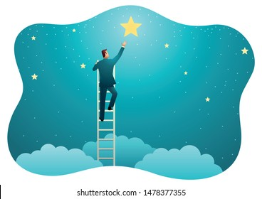 Vector illustration of a businessman reach out for the stars, business concept.