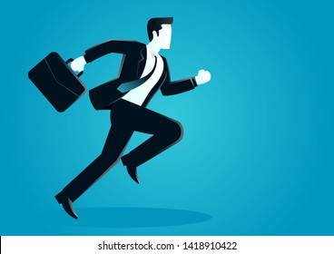 vector illustration of a businessman running with briefcase. business concept illustration