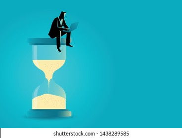 Vector illustration of a businessman sitting with laptop on hourglass. Time management. Deadline concept