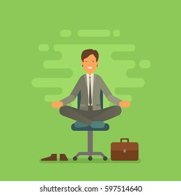 Vector illustration of businessman sitting in lotus pose. Meditating office worker on greenery trendy color 2017 background. Corporate yoga illustration in flat vector style.