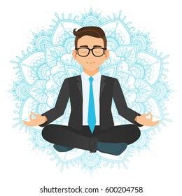 Vector illustration of businessman sitting in lotus pose. Meditating office worker on dreamy mandala background. Corporate yoga illustration.