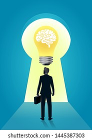 vector illustration of businessman stand keyhole with brain in the bulb. describe open mind, thinking, open mind, and creative think. business concept illustration