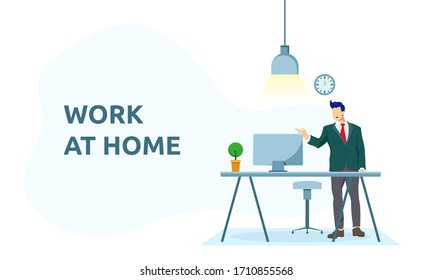 Vector illustration of businessman standing infront of workspace. Freelancer and teamwork communication, programmer and designer, gamer and blogger, work remotely at home concept.