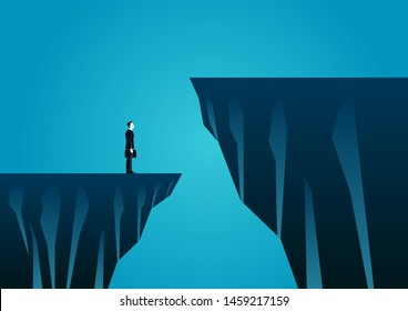 vector illustration of businessman standing on the edge of ravine thinking before making a decision. describe challenge, risk, obstacles, take a risk and danger. business concept illustration