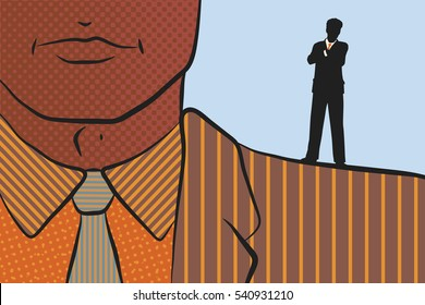 Vector illustration of a businessman standing on the shoulder of a giant