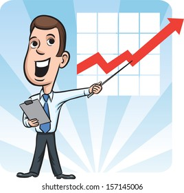 Vector illustration of businessman standing pointing at chart. Easy-edit layered vector EPS10 file scalable to any size without quality loss. High resolution raster JPG file is included.