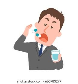 vector illustration of a businessman taking medicines