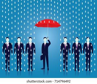 Vector illustration. Businessman and umbrella, risk threat preparation protecting weath future life